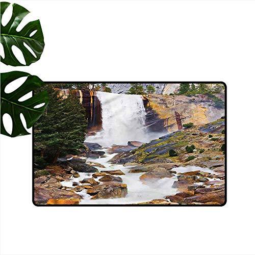 DONEECKL Door mat Yosemite Vernal Fall National Park Hard and wear Resistant W16 xL24