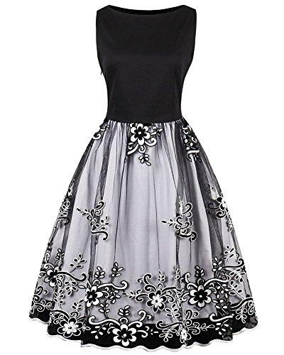 Swing Black Party Plus Lace Aecibzo Cocktail 1950s Dress White Sleeveless Vintage Size Women aUUwPz