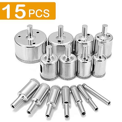 15Pcs Diamond Drill Bit Set Tile Hole Saw Extractor Remover Tools Hollow Core Drill Bits for Glass Ceramics Porcelain Cermic Tile (15 Piece)