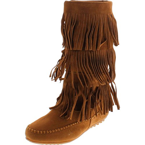 Shoes Of Soul Womens Mid Calf Faux Suede Moccasins Flat 3 Layer Fringe Side Zipper Boots Shoes,Tan,5 (Five Layer Fringe)