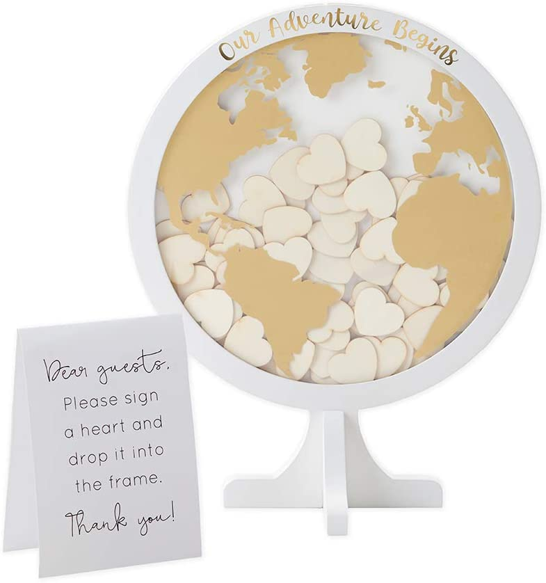 Kate Aspen Globe Wedding Guest Book Memorable Keepsake and Reception Decor Guestbook Alternative with Drop Top Wooden Hearts, One Size, White