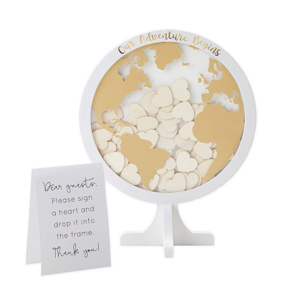 Kate Aspen 22101NA Globe Wedding Guest Book Memorable Keepsake and Reception Decor Guestbook Alternative with Drop Top Wooden Hearts, One Size, White