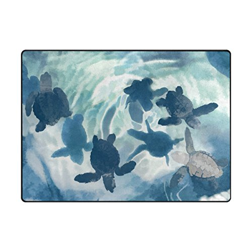 Naanle Ocean Sea Life Area Rug 5'x7', Cute Sea Turtle Polyester Area Rug Mat for Living Dining Dorm Room Bedroom Home Decorative