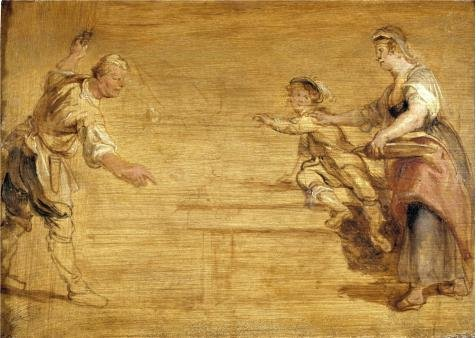 Perfect Effect Canvas ,the Imitations Art DecorativePrints On Canvas Of Oil Painting 'Peter Paul Rubens,Kitchen Maid,Butcher And Boy Around A Table,1577-1640', 24x34 Inch / 61x86 Cm Is Best For Home Office Gallery Art And Home Decor And Gifts