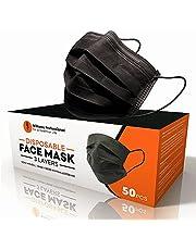 Williams Professional Zwart masker, 50 stuks, hoge bescherming, CE-certificering, filtratie > 98%, elastische oorbellen, eenheidsmaat