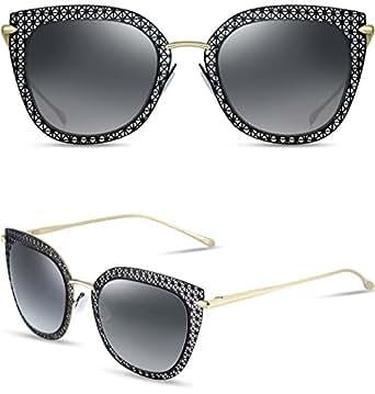 ATTCL Women's Hot Metal Frame Fashion Wayfarer Style Vintage Sunglasses 8007-Black-Gray
