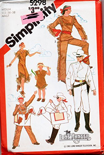Simplicity 5298 Adult Lone Ranger Costume Sewing Pattern, Adult Size Medium Chest 36-38, American Indian, Horse Vintage (Lone Cowboy Adult Costume)