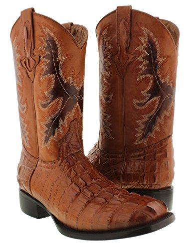 El Presidente - Men's Crocodile Cognac Tail Cut Western Cowboy Boots Square 11.5 E US