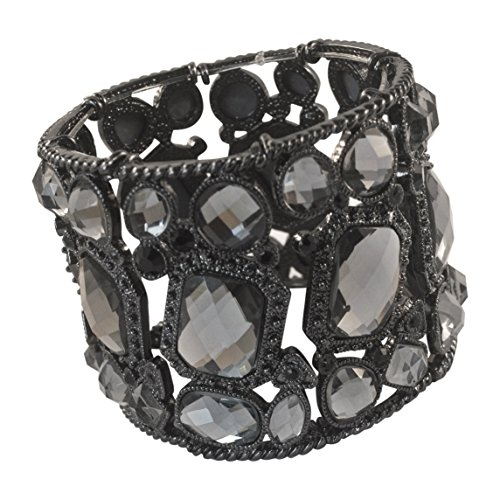 Retro Design Crystal Faceted Black Stretch Bracelet Cuff Bangle By Crystal - Stretch Design Bangle Bracelet