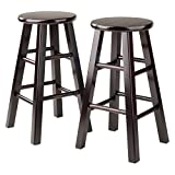 Winsome Wood Counter Stool with Square Legs, 24-Inch, Espresso, Set of 2
