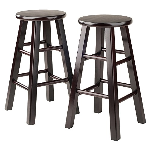 Winsome Square Seat (Winsome Counter Stool with Square Legs, 24-Inch, Espresso, Set of 2)
