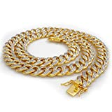 18k Gold Cuban Link Chain for Men - Hip Hop Iced Out Necklace 24,30,36 inches By Niv's Bling