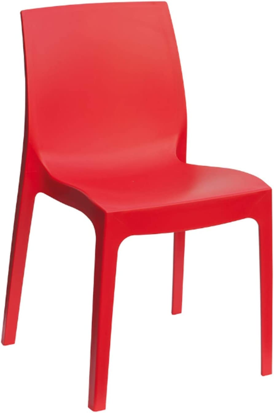 Amazon Com Igap Rome Stackable Patio Dining Chair Red 2 Piece Set Heavy Duty Plastic Made Of Recycled Materials Euro Design Kitchen Dining