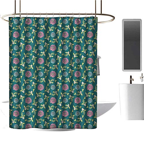 Qenuan Waterproof Fabric Shower Curtain Fish,Asian Traditional Carp Koi Lily Pattern Japanese Traditional Motifs Marine, Teal Coral Pale Green,Waterproof Washable Bathroom Curtain - Lily Spider Japanese