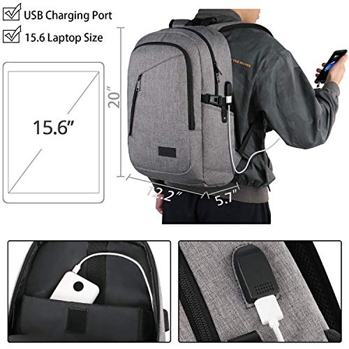 Bundle - Laptop Backpack, Water Resistant Bookbag with Lock and USB Charing Port   College Computer Bag for Business Travel, Grey & Black