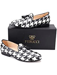 Handmade FERUCCI Men Plain Black White Patent Leather with Black Tassel Slippers loafers