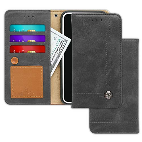 LG G6, G6 Plus Case [Free 9 Gifts] Trim LINE Flip Diary Cover with Slim Folding Wallet Design [Octopus Ver.] – Card Holder, Cash Slots, Kickstand, Hand Strap and Message Pad for G 6, G6+ (Ash Gray)