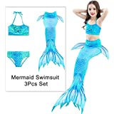 Houwsbaby Girls Mermaid Tail Swimsuit Without Monofin 3pcs Set