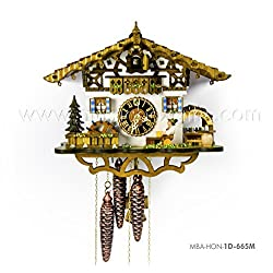 1 Day Musical Bavarian Chalet Cuckoo Clock with Beer Drinker in Biergarten By Hönes