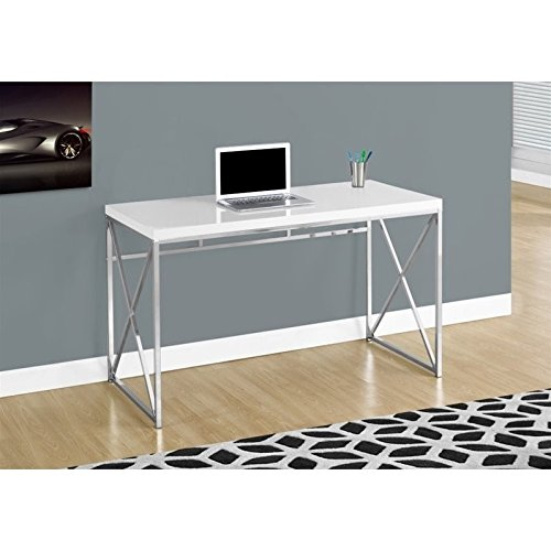 Scranton & Co 48'' Metal Computer Desk in Glossy White