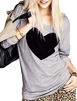 Haola Women's Fall Heart Printed Long Sleeve T Shirts Funny Graphics Tops Street Tees