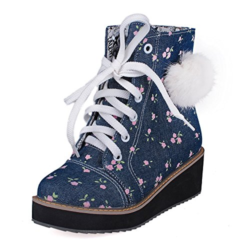 Heels Blue Women's Closed Material Soft Lace Up Kitten Low Boots Toe Top AmoonyFashion Round 8Bwq4nxaOa