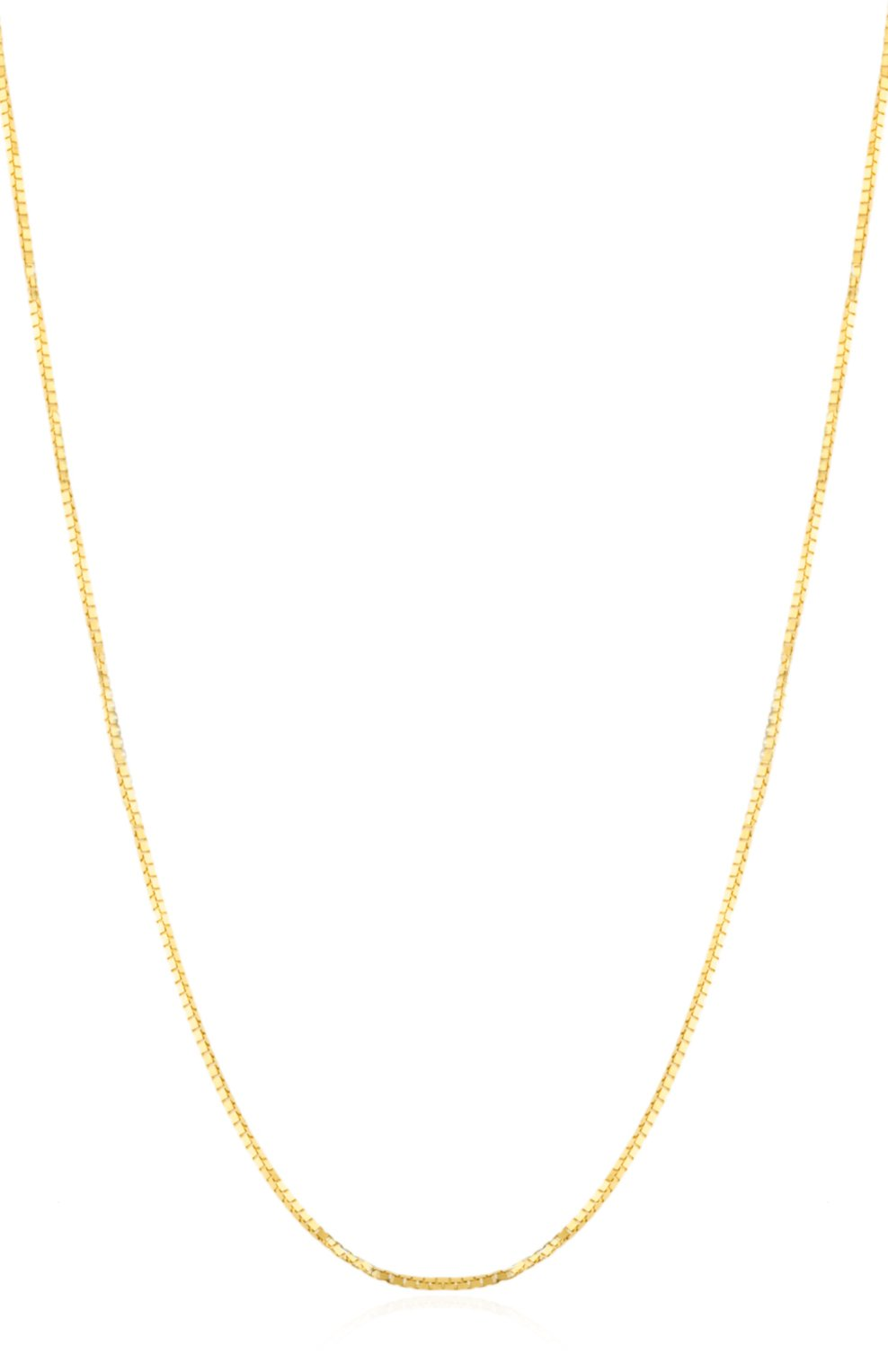 14K Yellow Gold .8mm Solid Box Chain, 22''