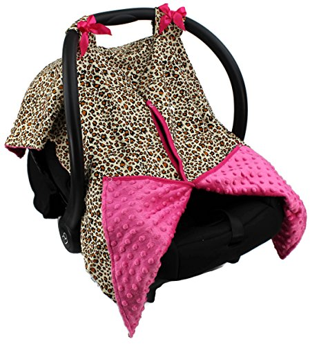 Strawberry Farms Baby Car Seat Cover Canopy and Nursing Cover 2 in 1 Pink Leopard - Leopard Car Seat