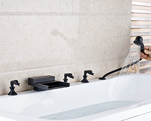 Gowe New Waterfall Spout Bathroom Tub Faucet Deck Mounted Sink Mixer Tap Oil Rubbed Bronze Finished 4