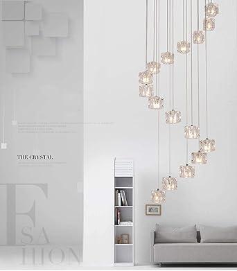 Lámpara LED moderna iluminación de la lámpara espiral Diseño Cubo de Cristal Luz AC110-240V de montaje empotrado Colgante Cristal Lustre, La luz blanca cálida: Amazon.es: Iluminación