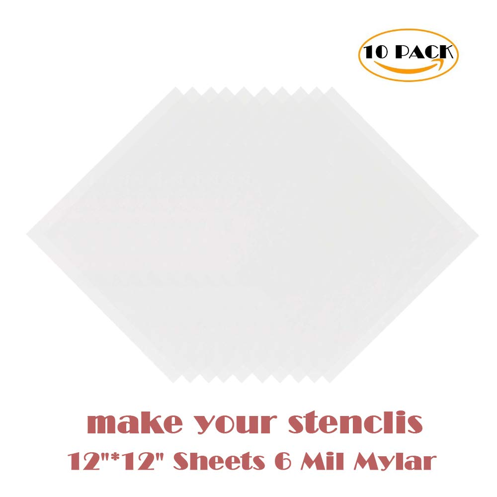 10 Pack 6 Mil 12 x 12 inch Blank Stencil Sheets- Perfect for Use with  Cricut & Silhouette Machines(Mylar Material)