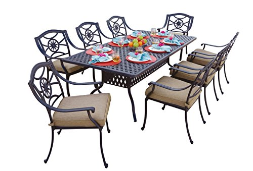 84' Cast Aluminum Table - Darlee 9 Piece Ten Star Cast Aluminum Dining Set with Sesame seat cushions and 42'' x 84'' Rectangular Dining Table, Antique Bronze Finish