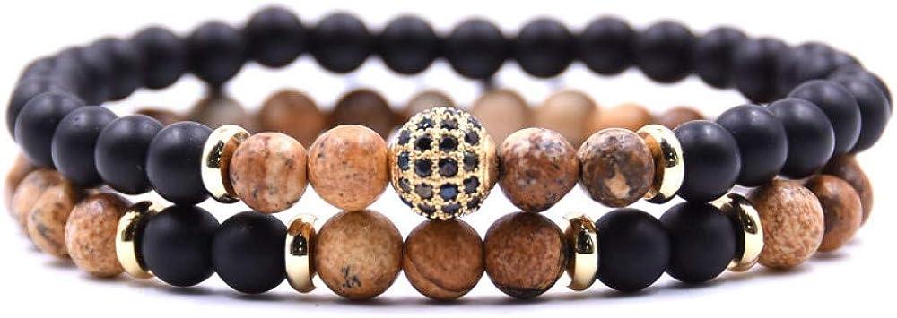 Zodiark Jewellery Juego de Dos Pulseras Jasper marrón y Negro Mate ónice Piedra Natural Chakra Pulsera Conjunto de Abalorios Dorado y Cristales de Swarovski Detalles