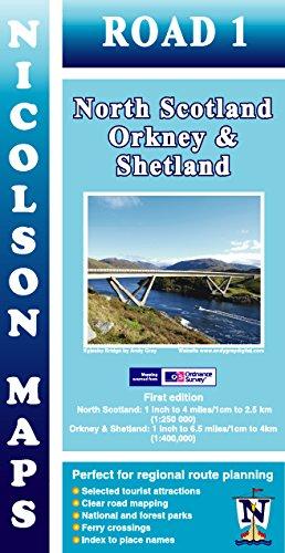 Nicolson Map 01. North Scotland, Orkney & Shetland 1 : 250 000 / 1 : 400 000 (Nicolson Road Maps)