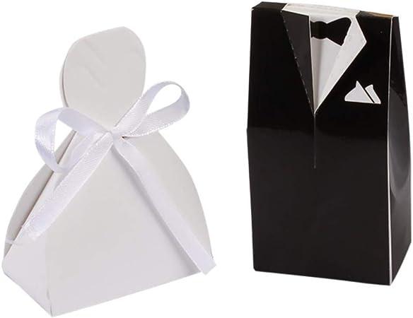 Cajas de Dulces de Boda, Caja de Regalo de Novios con Cinta para Ocasiones de Fiesta de Aniversario de Bodas Paquete de 50 Pares: Amazon.es: Hogar