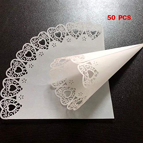 liumiKK 50pcs Laser Cut Love Heart Lace Laying Candy Wedding Party Favors Confetti Cones Paper Cone Decoration Supplies Gift (Cone Favor Boxes Heart)