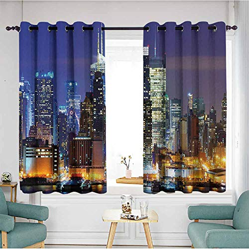 (duommhome United States Printed Insulation Curtain Manhattan View from Hudson River at Night Luminous Landscape Set of Two Panels 55