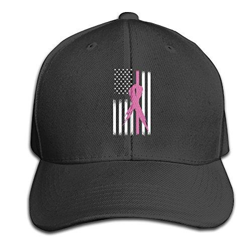 Breast Cancer Flag Adjustable Baseball Caps Unstructured Dad Hat 100% Cotton Black