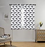 Cheap Stylish Window Curtains,Anchor,Aquatic Pattern with Sharks and Anchors Contemporary Classical Modern Fish Animal Decorative,Indigo White,2 Panel Set Window Drapes,for Living Room Bedroom Kitchen Cafe