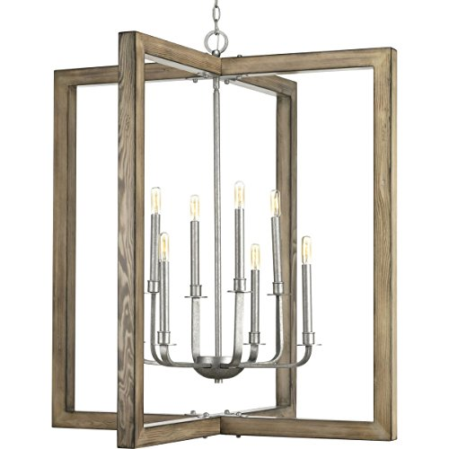 - Progress Lighting P4763-141 Turnbury Galvanized Finish Eight-Light Chandelier