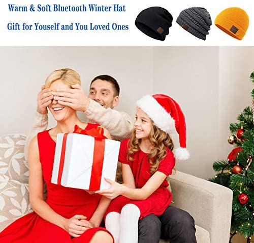 BULYPAZY Bluetooth Beanie, Bluetooth 5.0 Wireless Winter Hat with Double Fleece Lined, Mic and HD Speakers, Unique Christmas Electronic Gifts for Men Women