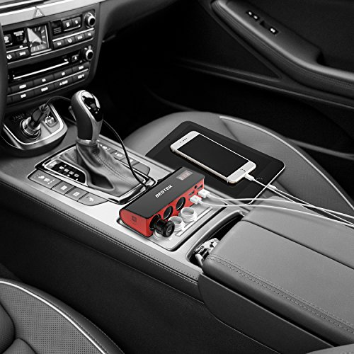 BESTEK 3-Socket 200W 12V/24V DC Cigarette Lighter Power Adapter with 6A 4-Port Car USB Splitter Charger