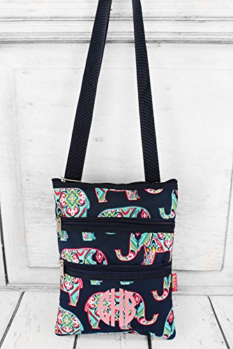Personalized Preppy Ellie Crossbody Bag with Navy Trim