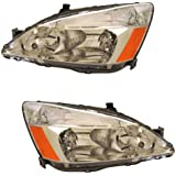 2003-2004-2005-2006-2007 Honda Accord 4-Door Sedan or 2-Door Coupe Headlight Headlamp Halogen Composite Front Head Lamp Light Pair Set Left Driver Side AND Right Passenger Side (03 04 05 06 07)