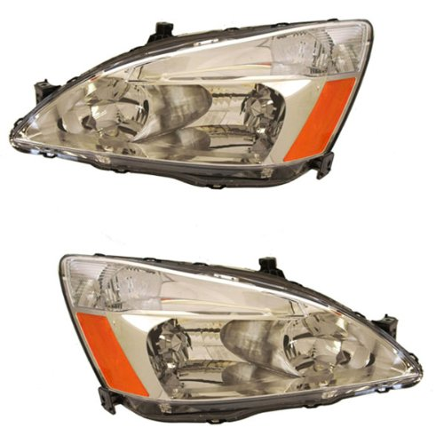 2003-2004-2005-2006-2007 Honda Accord 4-Door Sedan or 2-Door Coupe Headlight Headlamp Halogen Composite Front Head Lamp Light Pair Set Left Driver Side AND Right Passenger Side (03 04 05 06 07) Composite Headlamp