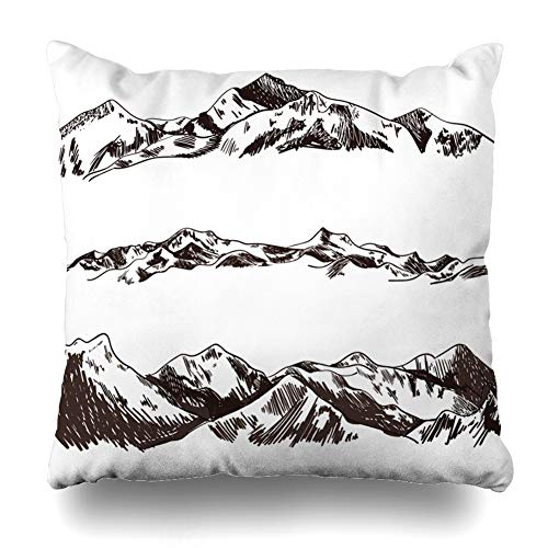(Ahawoso Throw Pillow Cover Square 20x20 Drawing Draft Sketched Mountains Hills Hand Parks Mountain Pencil Alpine Camp Contour Design Home Decor Cushion Case Pillowcase)