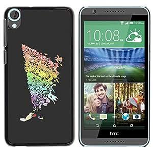 YiPhone /// Prima de resorte delgada de la cubierta del caso de Shell Armor - Cool Color Rainbow Art Hand Bird Spiral Tornado - HTC Desire 820