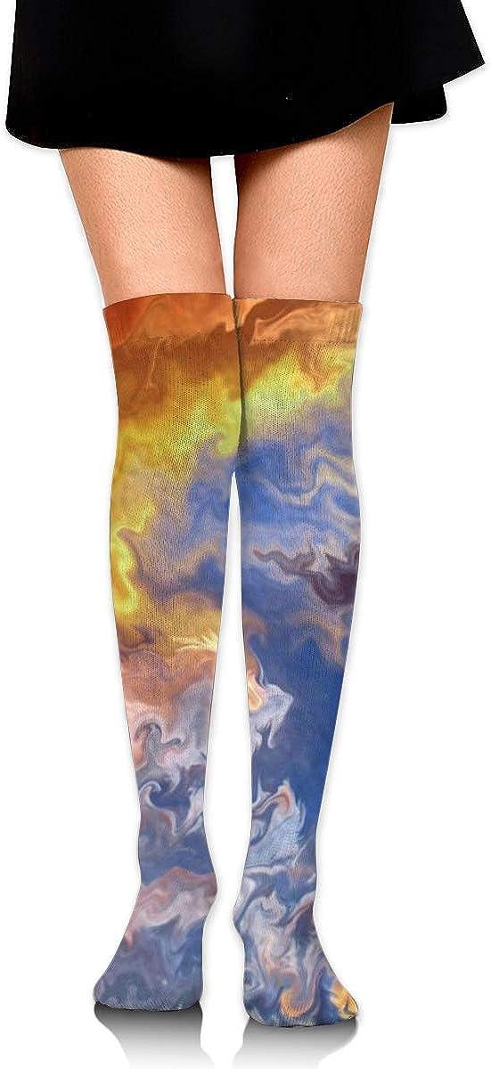 Women Crew Socks Thigh High Knee Art Cloud Long Tube Dress Legging Soccer Compression Stocking