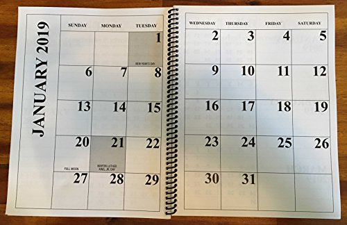 Jumbo Large Print 2019 Desktop Calendar 13-Months - 17'' x 11'' Opened up, Or Closed it is 11'' x 8.5'' by Large Print Desktop Calendar