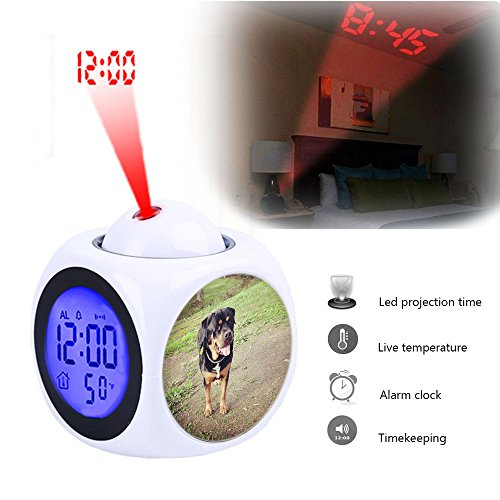 Projection Alarm Clock Wake Up Bedroom with Data and Temperature Display Talking Function, LED Wall/Ceiling Projection,Customize the pattern-325.Rottweiler, Dog, Pet, Canine, Breed, Dog Walking
